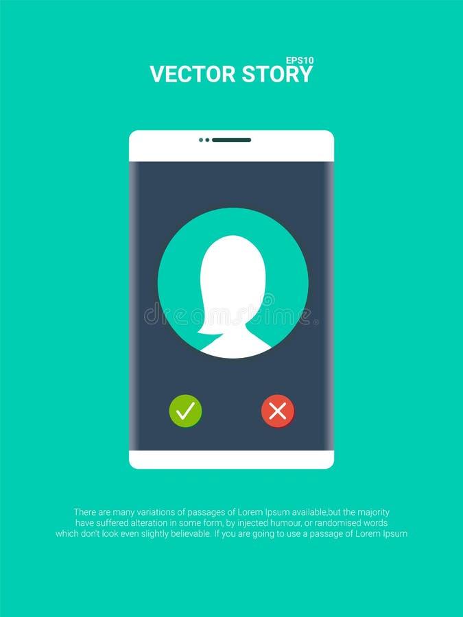 Smartphone o ejemplo de sonido del vector del teléfono móvil, llamada plana del teléfono móvil de la historieta libre illustration