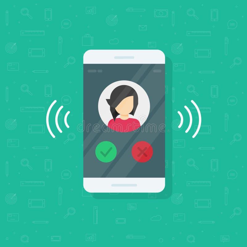 Smartphone o el ejemplo de sonido del vector del teléfono móvil, llamada plana del teléfono móvil de la historieta o vibra con la stock de ilustración