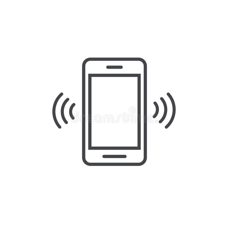 Smartphone o el icono de sonido del vector del teléfono móvil, línea llamada del teléfono móvil del esquema del arte o vibra el p stock de ilustración