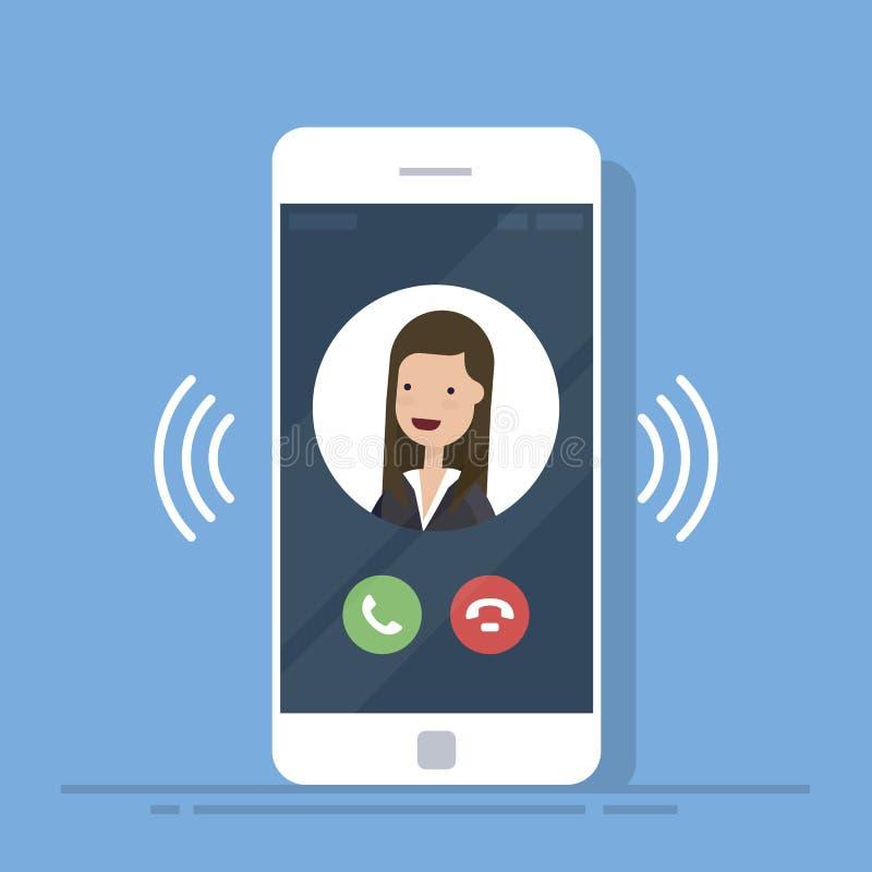 Smartphone o la llamada de teléfono móvil o vibra con la información de contacto sobre la exhibición, anillo del icono del teléfo ilustración del vector