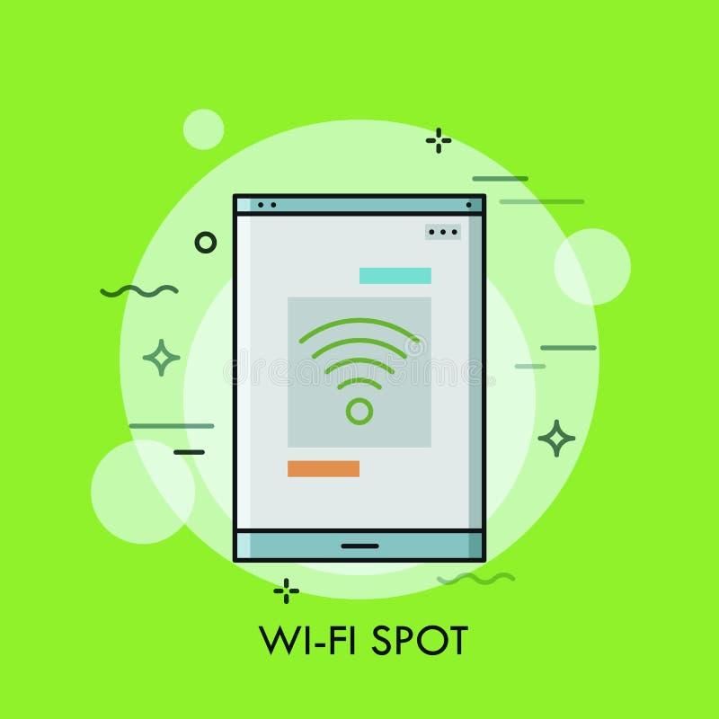Smartphone o pantalla de la tableta con símbolo del Wi-Fi en él Concepto de punto inalámbrico libre de la conexión a internet libre illustration