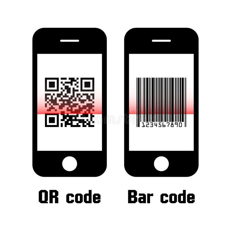 Smartphone obrazu cyfrowego QR kod i prętowy kod Płaski projekt royalty ilustracja