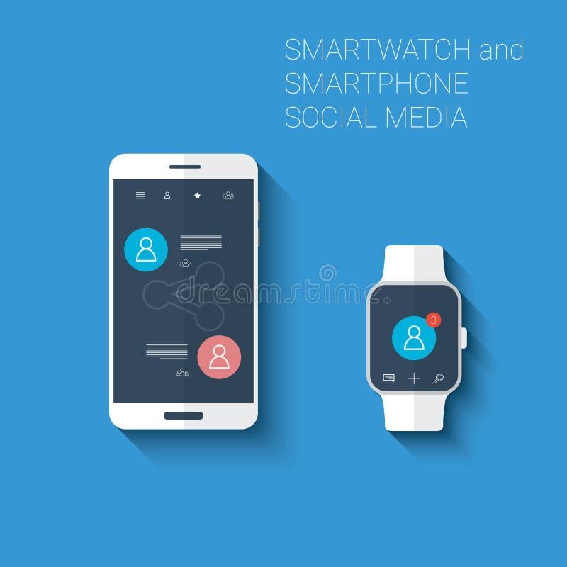 Smartphone och det sociala massmedia för smartwatch knyter kontakt användargränssnittsymbolssatsen Wearable teknologibegrepp i mo royaltyfri illustrationer
