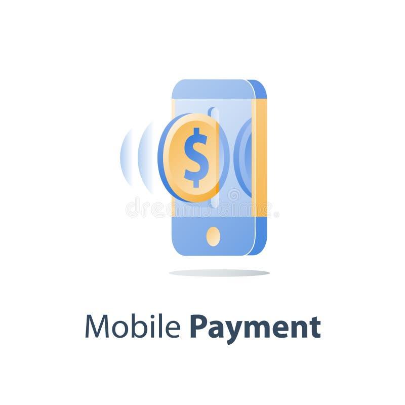 Smartphone och dollarmyntet, mobil betalning, online-bankrörelset, finansiell rådgivning, överför pengar stock illustrationer