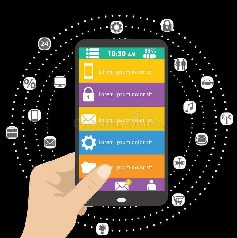 Smartphone och olik symbol app för handinnehavsvart stock illustrationer