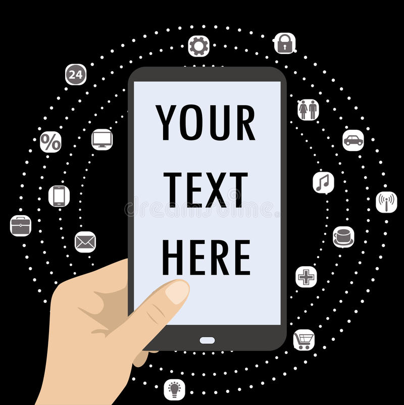 Smartphone och olik symbol app för handinnehavsvart vektor illustrationer