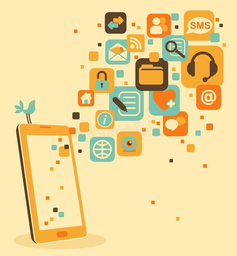 Smartphone och samkväm, massmedia, rengöringsduksymboler