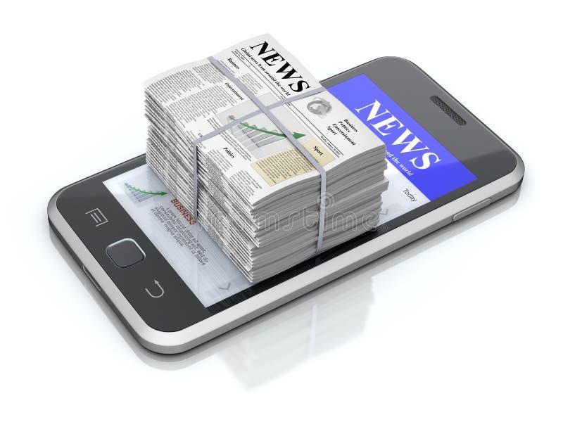Smartphone och tidningar stock illustrationer