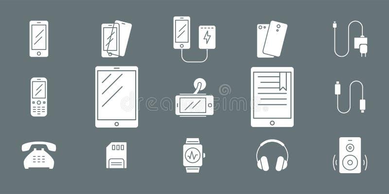 Smartphone och tillbehörsymboler 02 royaltyfri illustrationer