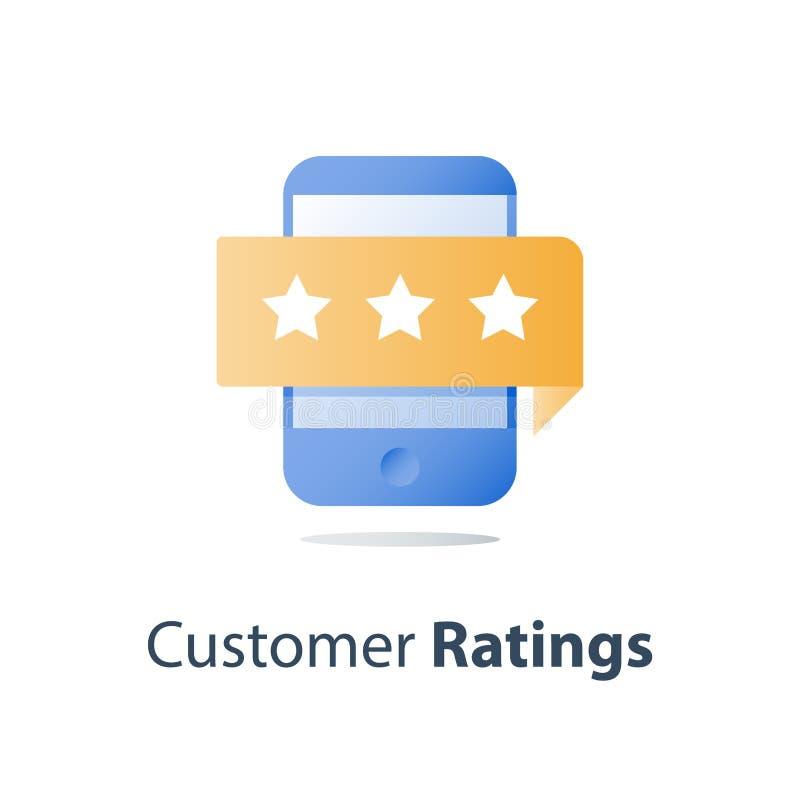 Smartphone och värderingsstjärnor, online-granskning, tjänste- kvalitets- utvärdering, återkopplingsgranskning, opinionsundersökn stock illustrationer