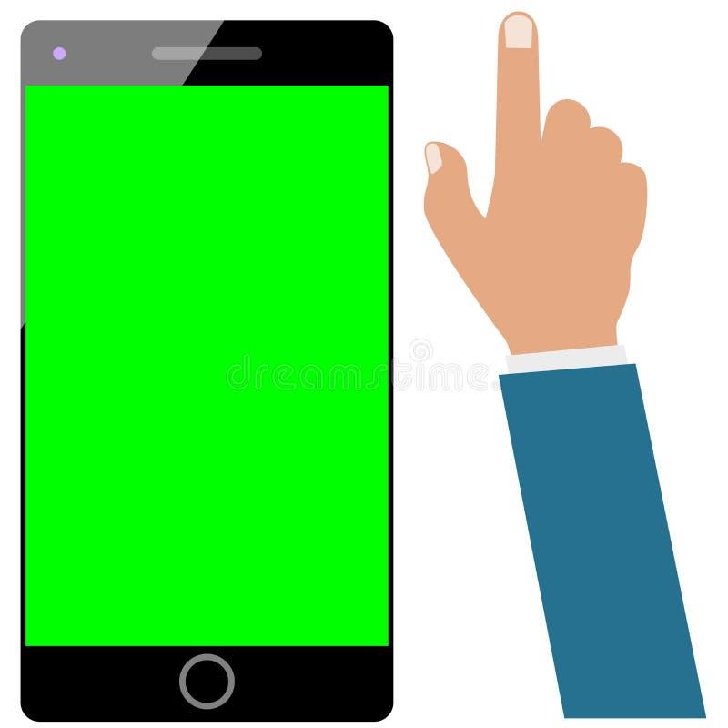 Smartphone oder Mobiltelefon oder mobiler grüner Schirm und Geschäftsmannhand lokalisiert Stellen Sie bereit zu wird belebt ein lizenzfreie abbildung