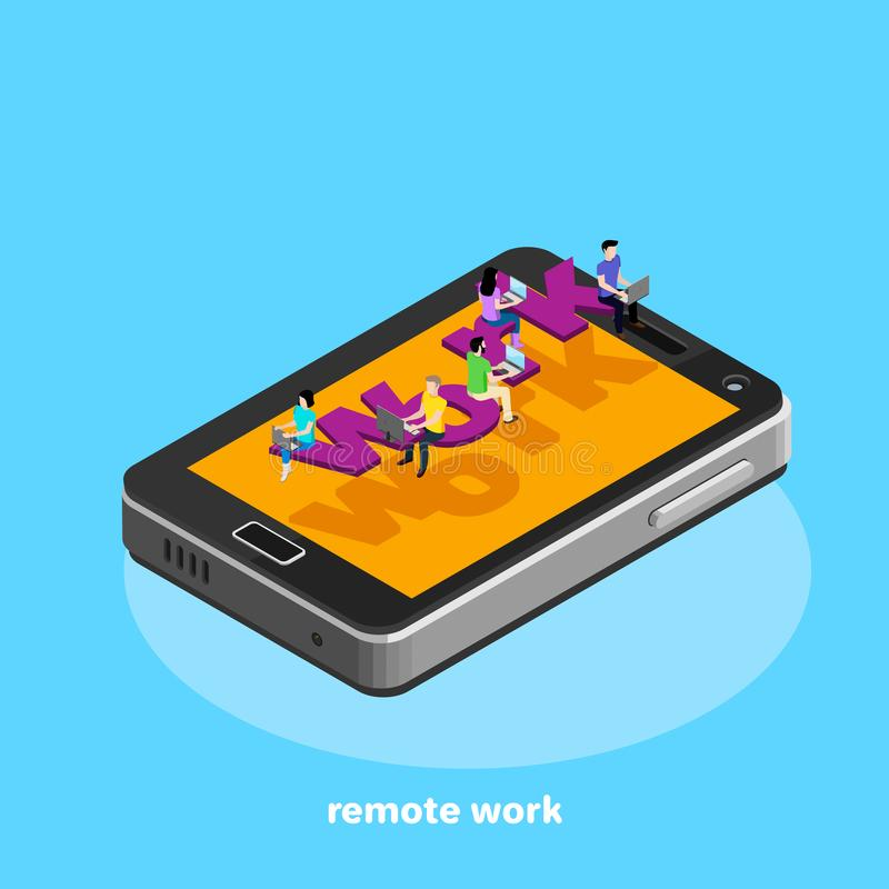 Smartphone odgórny widok, ikona w isometric stylu na błękitnym tle, ludzie pracuje ilustracji