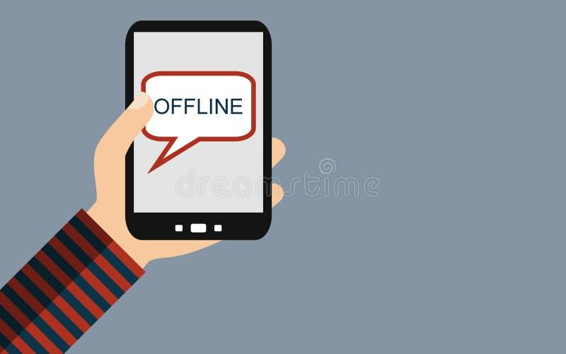 Smartphone: Off-$l*line - επίπεδο σχέδιο διανυσματική απεικόνιση