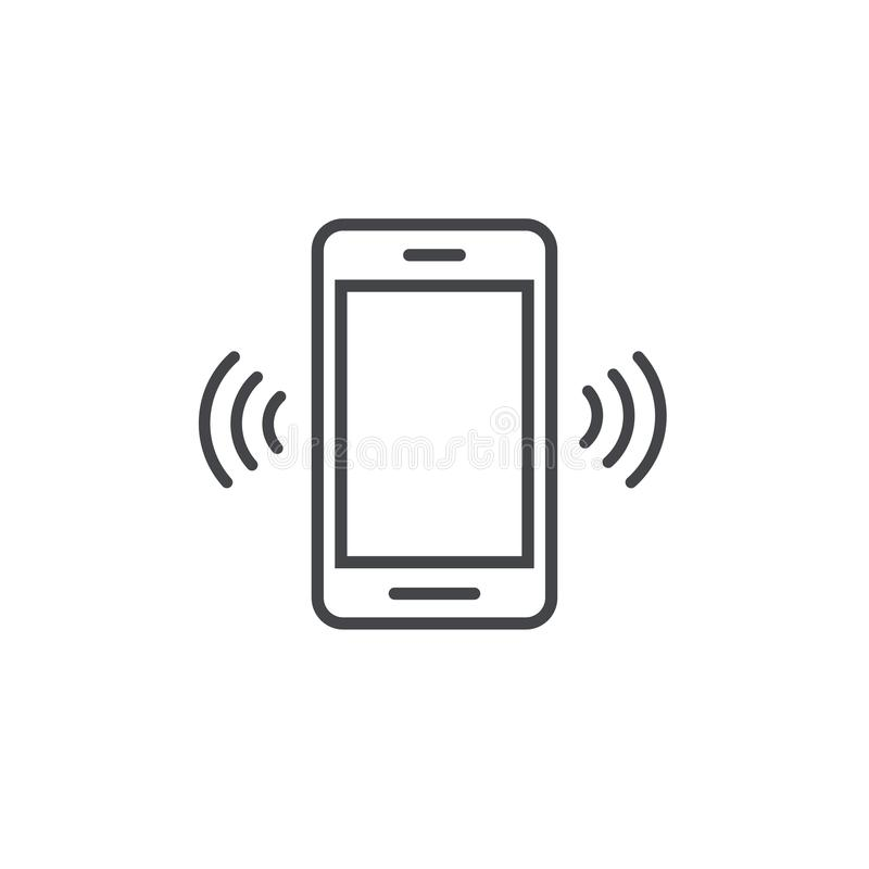 Free Smartphone Or Mobile Phone Ringing Vector Icon, Line Art Outline Cellphone Call Or Vibrate Pictogram, Ring Of Phone Royalty Free Stock Photos - 109841458