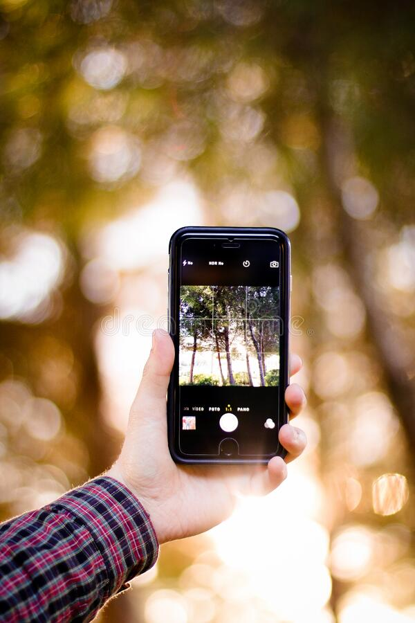 Smartphone outdoors royalty free stock photo