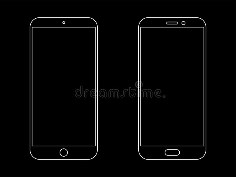 Smartphone outline vector icon vector illustration