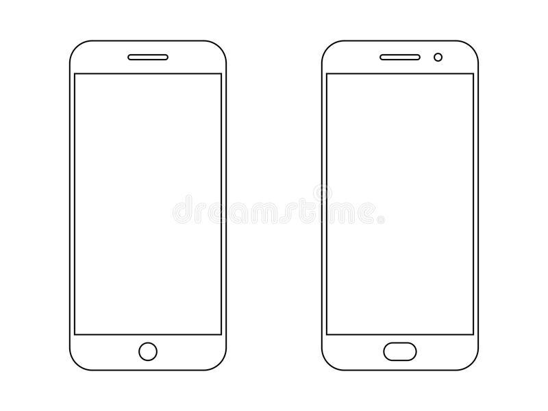 Smartphone outline vector icon stock illustration