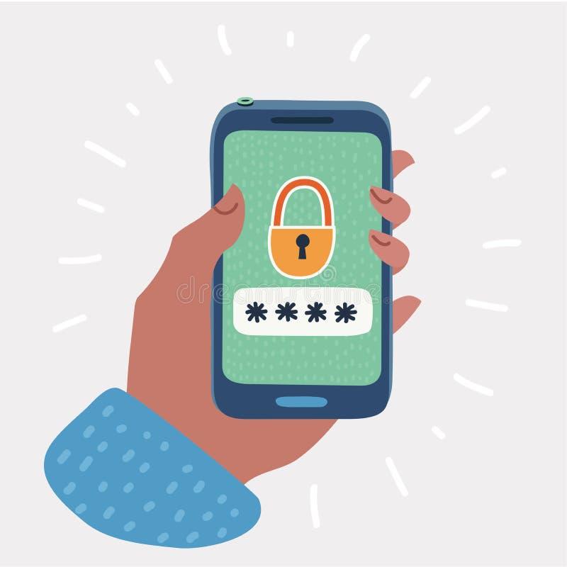 Smartphone a ouvert le bouton et le champ de mot de passe illustration de vecteur