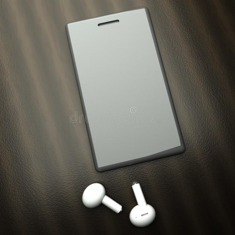 Smartphone over table with white wireless earphones royalty free stock photos