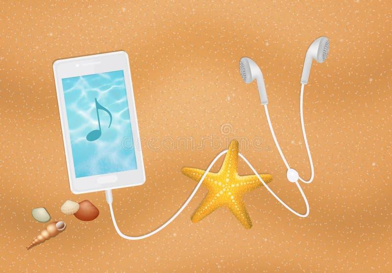 Smartphone på stranden royaltyfri illustrationer