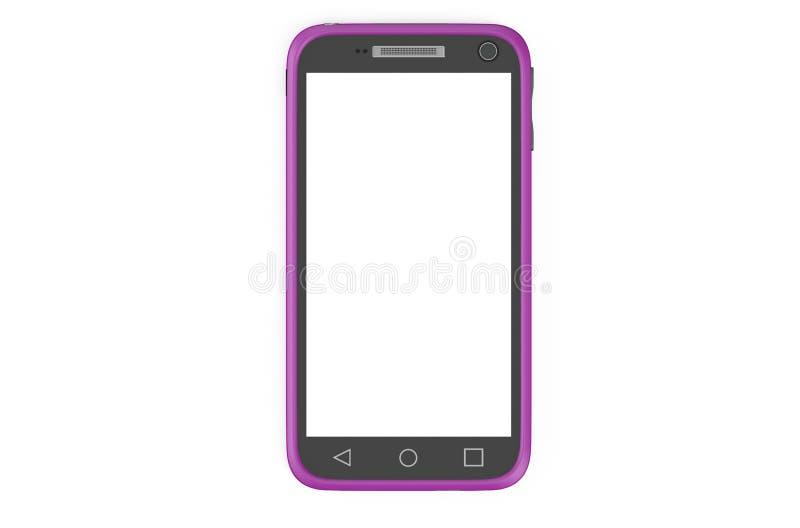 Smartphone púrpura con la pantalla blanca ilustración del vector