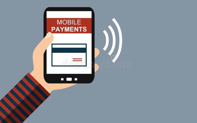 Smartphone: Pagamentos móveis - projeto liso ilustração royalty free