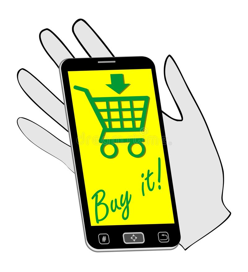 Smartphone On The Palm Invites You To Buying On The Internet The