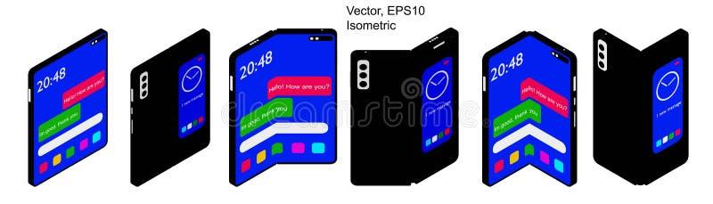 Smartphone pastylka z Foldable ekranem Fałdu mądrze telefon royalty ilustracja