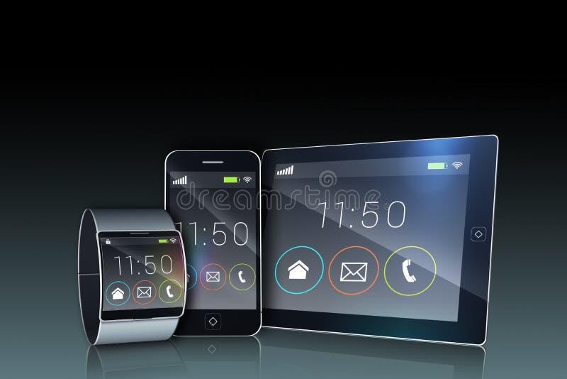 Smartphone pastylki komputer osobisty i futurystyczny wristwatch ilustracji