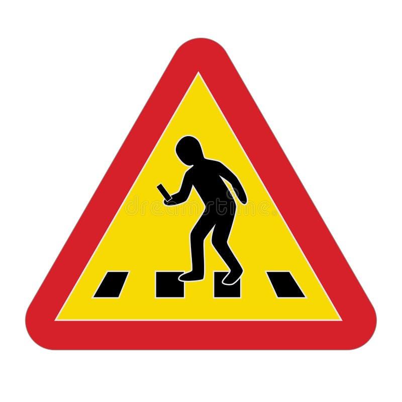 Smartphone pedestre de advertência do sinal de tráfego ilustração do vetor