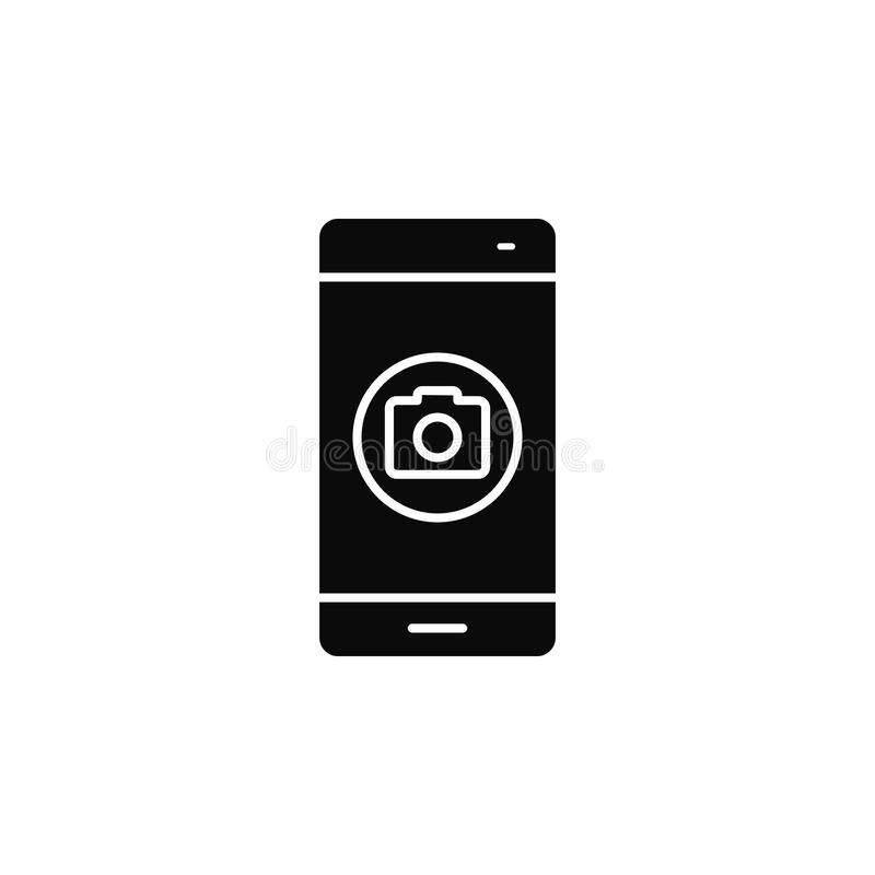 Smartphone, phone, cameraicon. Simple glyph, flat vector of smartphone icons for UI and UX, website or mobile application. On white background vector illustration