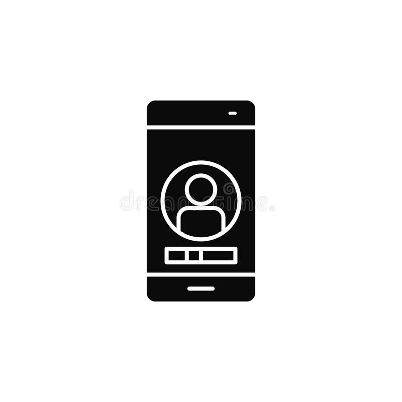 Smartphone, phone, contacticon. Simple glyph, flat vector of smartphone icons for UI and UX, website or mobile application. On white background stock illustration