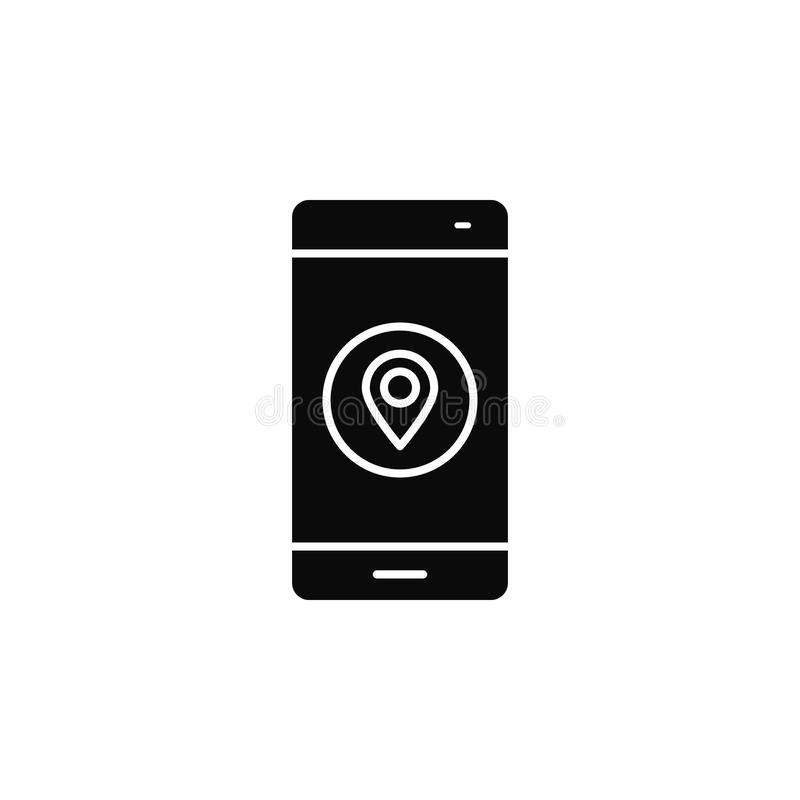 Smartphone, phone, locationicon. Simple glyph, flat vector of smartphone icons for UI and UX, website or mobile application. On white background vector illustration