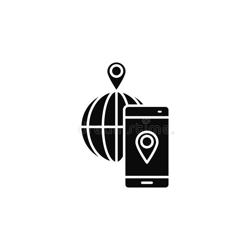 Smartphone, phone, locationicon. Simple glyph, flat vector of smartphone icons for UI and UX, website or mobile application. On white background royalty free illustration