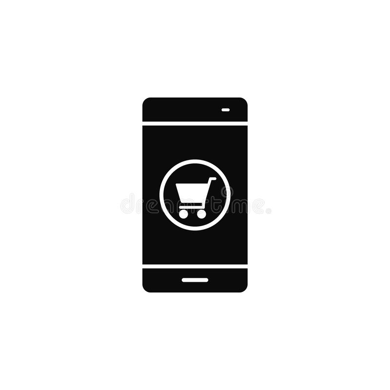 Smartphone, phone, online shopicon. Simple glyph, flat vector of smartphone icons for UI and UX, website or mobile application. On white background stock illustration