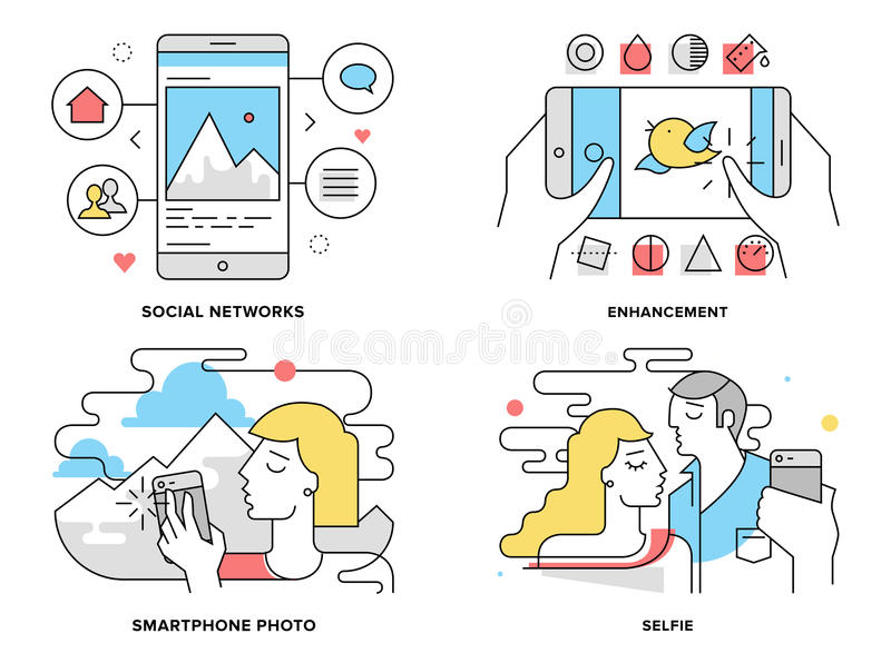 Smartphone photography flat line illustration. Flat line illustration set of romantic couple taking selfie on smartphone, selfportrait on mobile photo, editing royalty free illustration