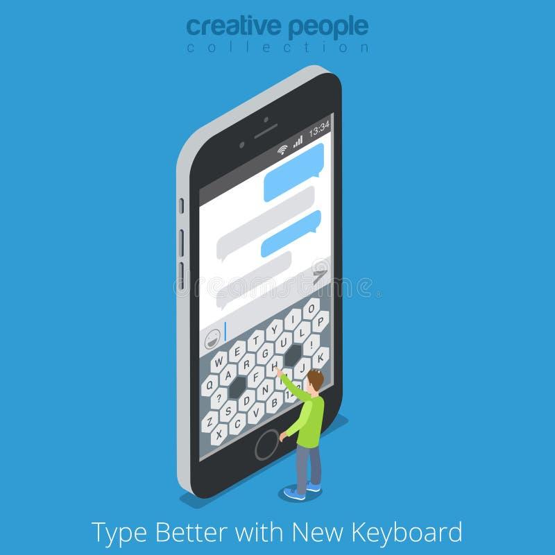 Smartphone piano mobile 3d del migliore schermo isometrico illustrazione vettoriale