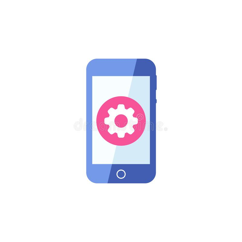 Smartphone-pictogram, Cellphone, handphonepictogram met montagesteken Smartphone-het pictogram en past, opstelling, leidt, verwer royalty-vrije illustratie