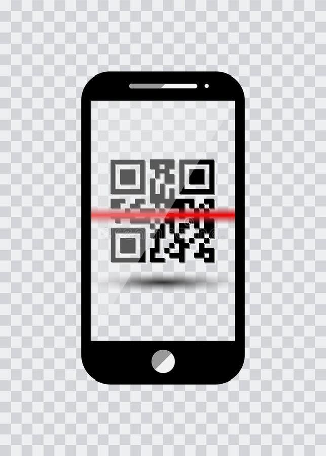 Smartphone-pictogram met steekproefStreepjescodes voor Aftastenpictogram met rode laser, Vector geïsoleerde Illustratie stock illustratie