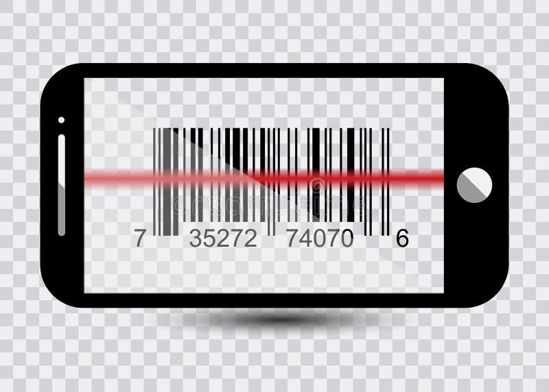 Smartphone-pictogram met steekproefStreepjescodes voor Aftastenpictogram met rode laser, Vectorillustratie vector illustratie