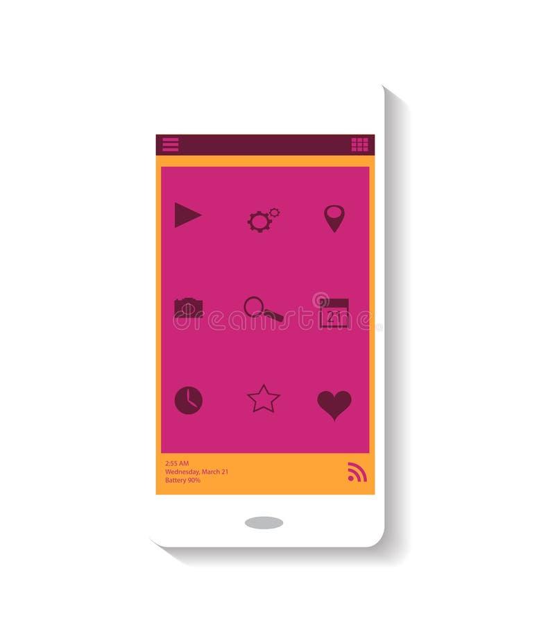 Smartphone-pictogram roze thema stock afbeelding
