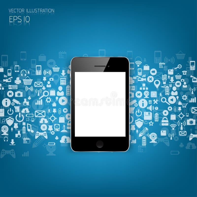 Smartphone plano detallado realista con los iconos del uso libre illustration