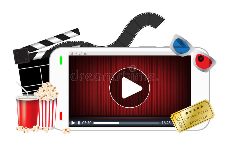 Smartphone playing a streaming video with popcorn ticket film 3d glasses. A smartphone playing a streaming video with popcorn ticket film 3d glasses stock illustration