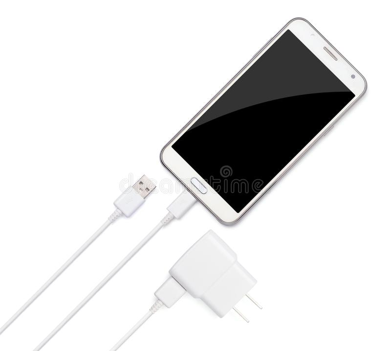 Smartphone plug in with micro USB charger adaptor. And USB cable plug, USB power plug adaptor isolated on white background stock images