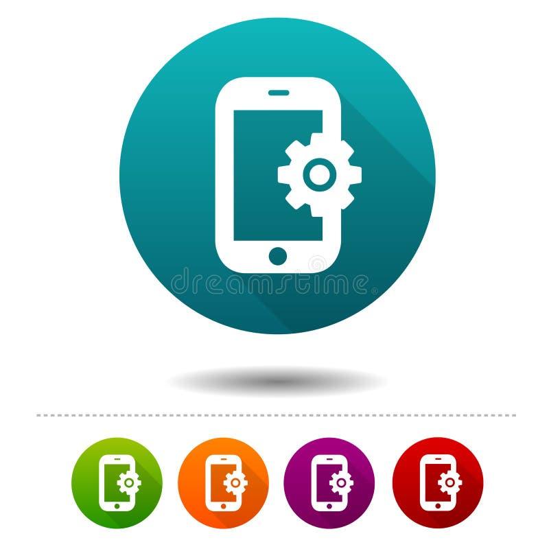 Smartphone położeń ikony Telefonów znaki Poparcie symbol Wektorowi okrąg sieci guziki ilustracja wektor