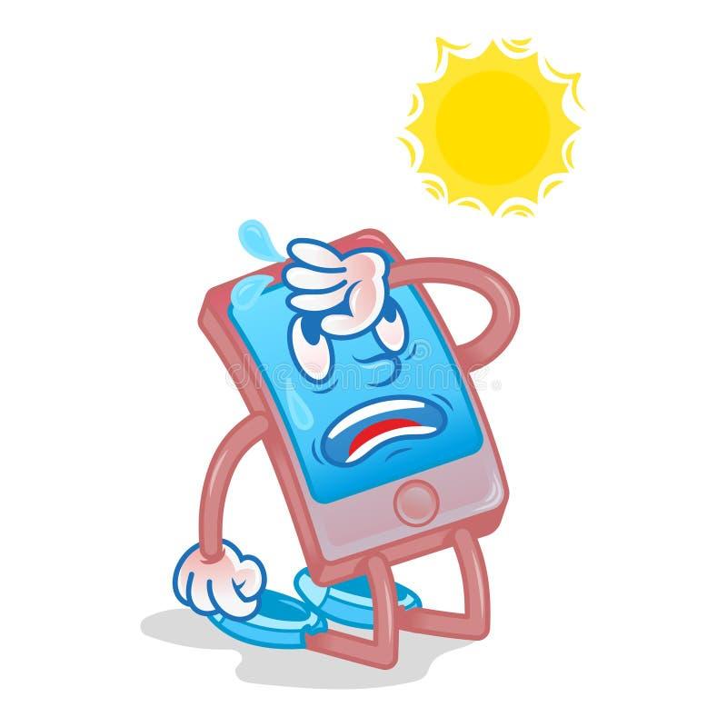 Smartphone pod gorącym słońcem ilustracja wektor