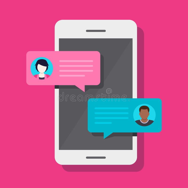 Smartphone pratstund, konversation stock illustrationer