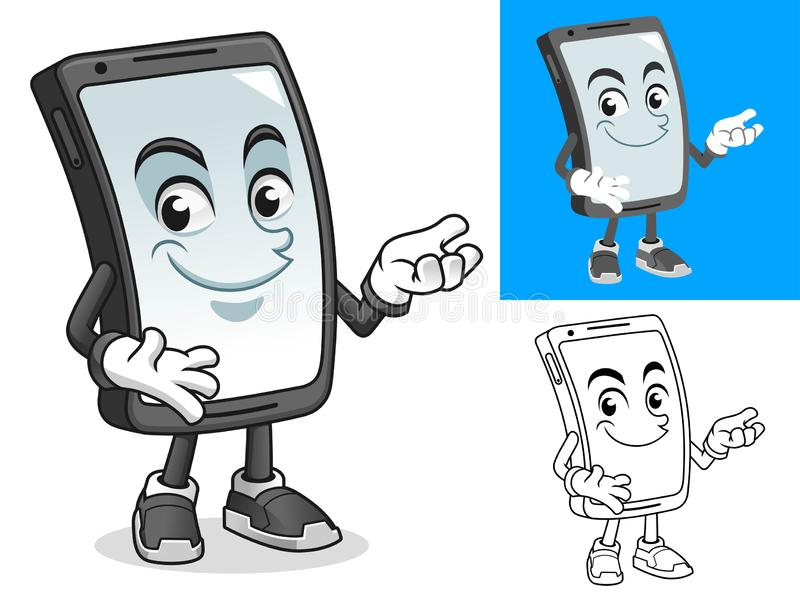 Smartphone Present Something Cartoon Character Mascot Illustration. Including flat and black and white designs, vector illustration, in isolated white royalty free illustration