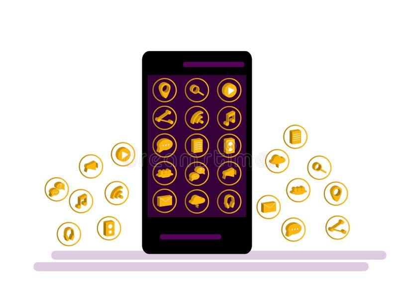 Smartphone preto com a nuvem dos ícones da aplicação e dos ícones de Apps que voam em torno deles, isolada no fundo branco ilustração stock