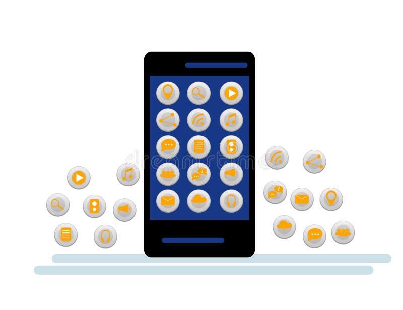 Smartphone preto com a nuvem dos ícones da aplicação e dos ícones de Apps que voam em torno deles, no fundo branco ilustração royalty free